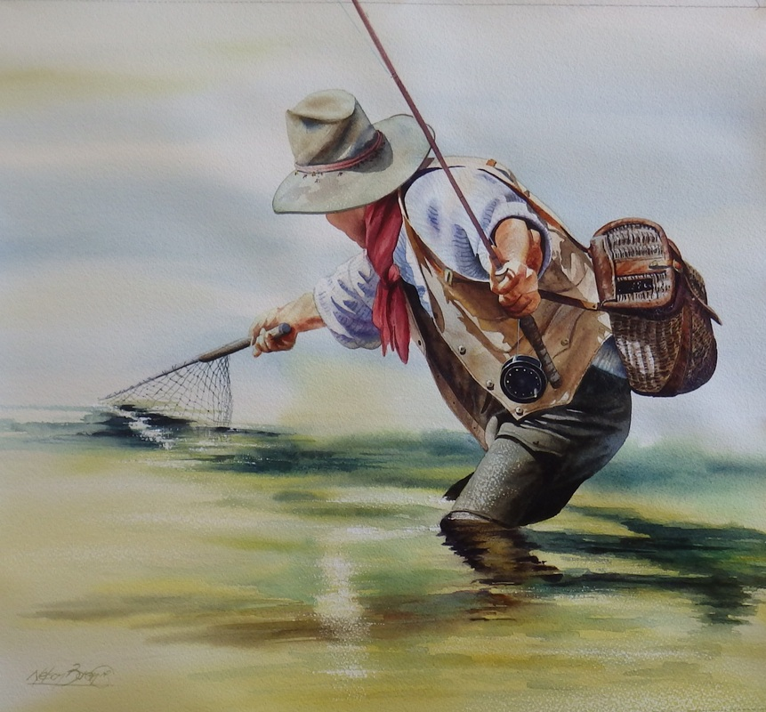 Original watercolor paintings fly fishing cowboy art for Fly fishing sale